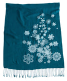 Teal blue and white Snowflake Scarf. Snow Print Linen-Weave Pashmina, by Cyberoptix.