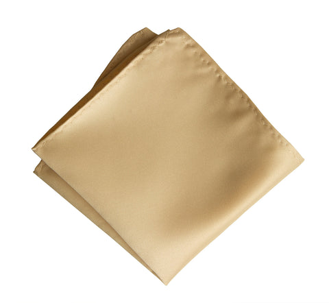 Soft Gold Pocket Square. Tan Solid Color Satin Finish, No Print