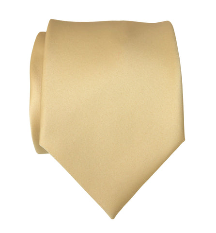 Soft Gold Necktie. Tan Solid Color Satin Finish Tie, No Print