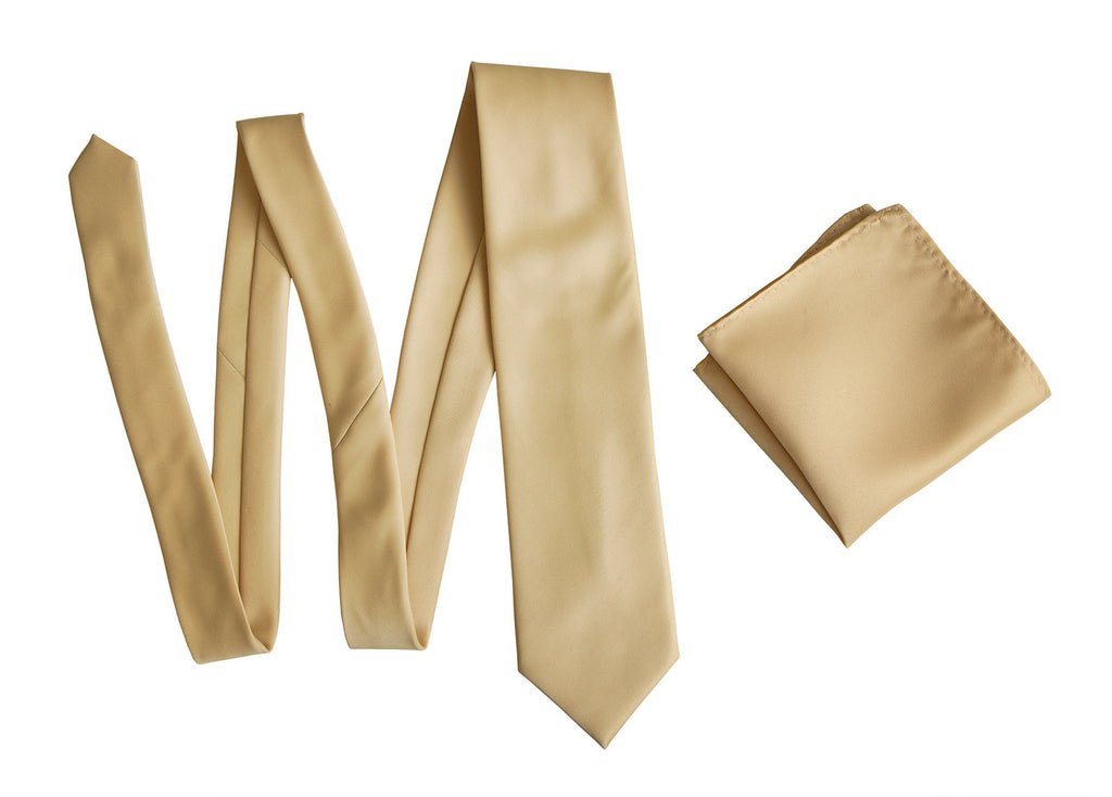 Tan Solid Color Pocket Square Soft Gold Satin Finish For Weddings No Print
