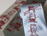 Apollo Soyuz men's tie. Crimson ink on sky blue.