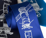 Apollo Soyuz Necktie. White ink on royal blue.
