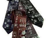 Space Shuttle Necktie: ice blue print on dark brown, charcoal, navy, black.