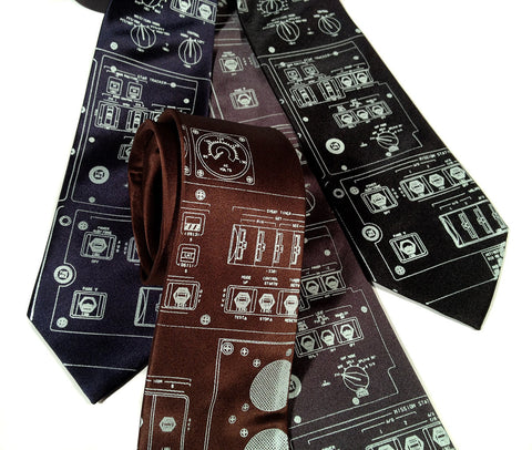 Space Shuttle Controls Silk Necktie