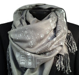 Ice ink on dove grey pashmina.
