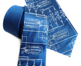 Spark Plug Necktie. Ice blue on french blue silk.