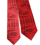 Spark Plug Necktie. Black on Red.