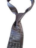 Spark Plug Necktie. Pale gray on charcoal.