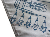 Spark Plug pocket square: cobalt on silver.