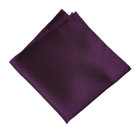 Spiced Wine Pocket Square. Solid Purple Fine-Stripe, No Print