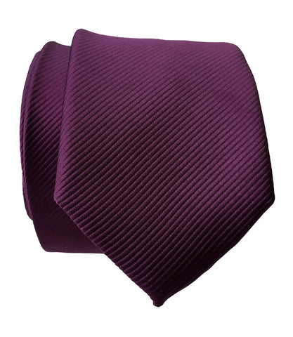 Spiced Wine Necktie. Solid Purple Fine-Stripe Tie, No Print