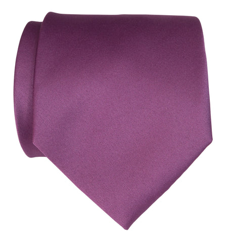 Spiced Wine Necktie. Medium Purple Solid Color Satin Finish Tie, No Print
