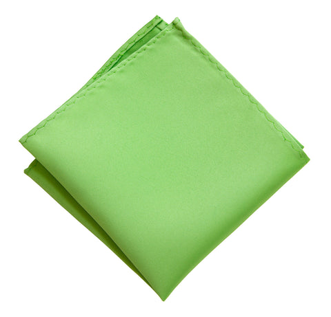 Spring Green Pocket Square. Solid Color Satin Finish, No Print