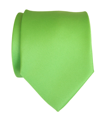 Spring Green Necktie. Solid Color Satin Finish Tie, No Print