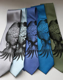 Cyberoptix Squid Brain Tie. Black on silver, sky blue, periwinkle, electric blue, sage.