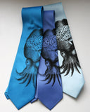Octopus Brain Tie. Black on electric blue, periwinkle, sky blue. By Cyberoptix
