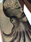 Cyberoptix Squid Necktie. Black ink on sage green.