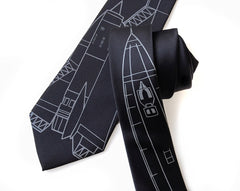 SR-71 Blackbird Necktie, aircraft blueprint tie.