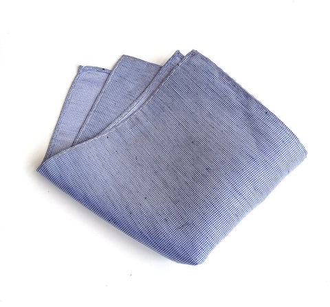 Nautical Blue Linen Pocket Square. Solid Color, St. Clair