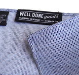 Blue textured weave linen + silk blend woven pocket square.
