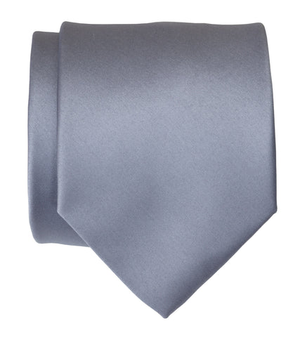 Steel Blue Necktie. Solid Color Blue-Gray Satin Finish Tie, No Print