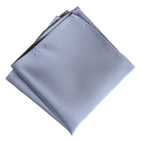Steel Blue Pocket Square. Solid Color Blue-Grey Satin Finish, No Print