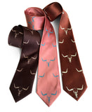 Steer skull neckties by Cyberoptix. Dark brown, dark salmon, cinnamon.