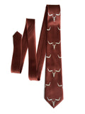Cinnamon brown Longhorn Steer Skull necktie