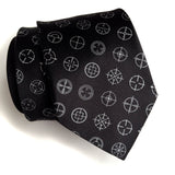 Rifle Sight Necktie: Dove grey on black.