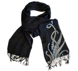 Octopus Tentacles Scarf. Sucker Print pashmina by Cyberoptix. Grey and black