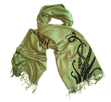 Octopus Tentacles Scarf. Sucker Print pashmina by Cyberoptix. Green and black