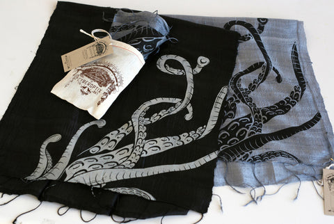 "Octopus Tentacles silk scarf. ""Sucker"""