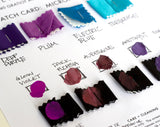 purchase non-silk tie swatches with printing ink samples applied and below.