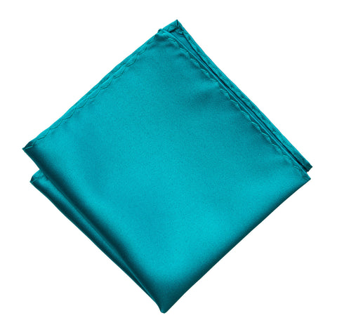 Teal Blue Pocket Square. Light Blue Solid Color Satin Finish, No Print