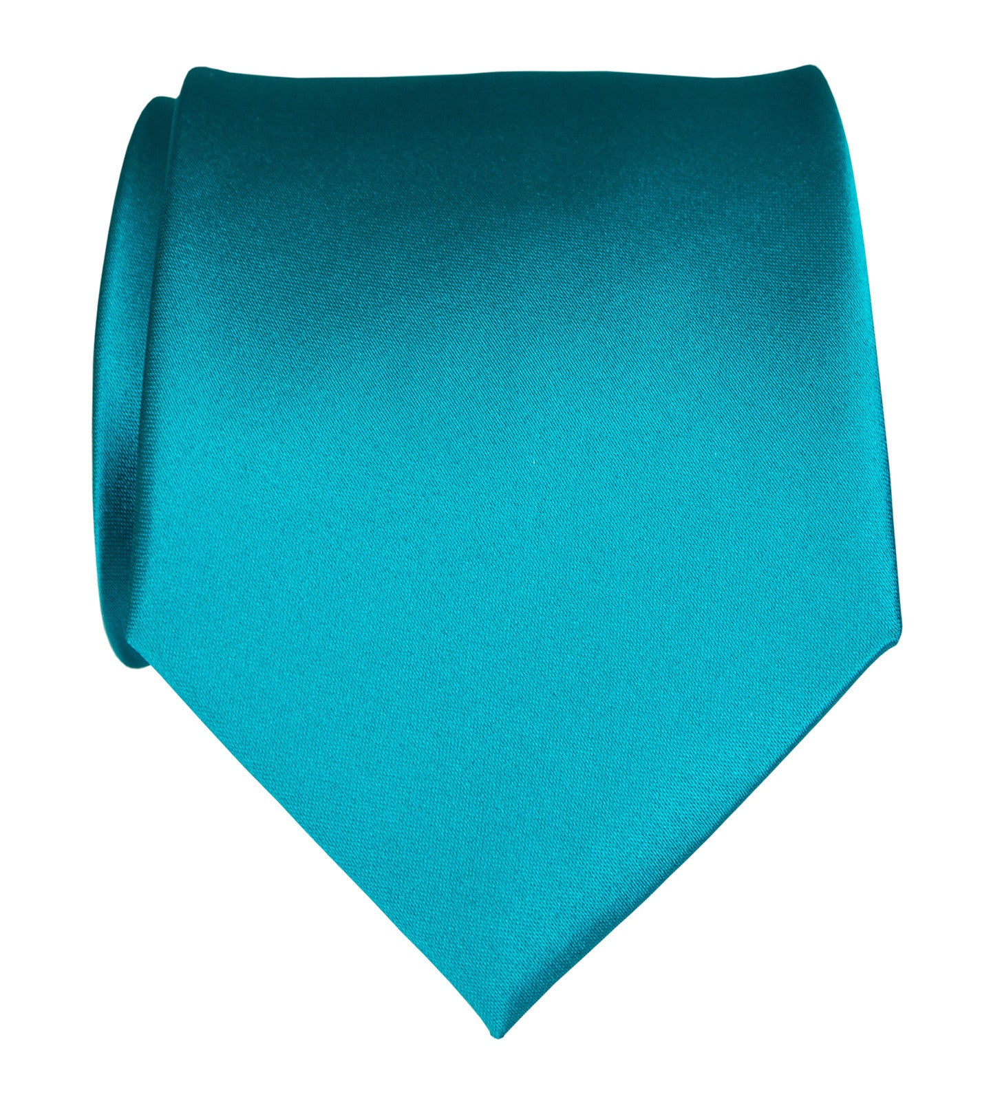 Teal Blue Necktie Light Blue Solid Color Satin Finish Tie No Print