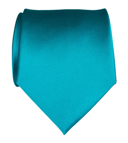Teal Blue Necktie. Light Blue Solid Color Satin Finish Tie, No Print