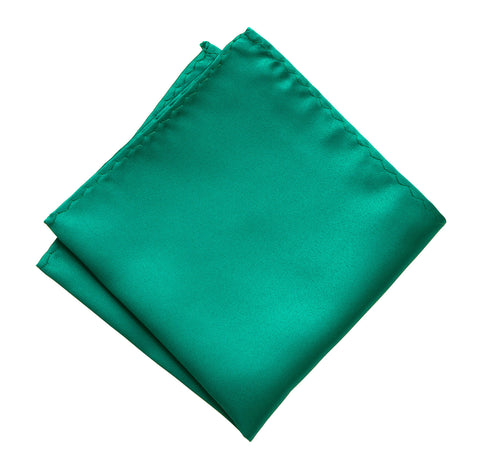 Teal Green Pocket Square. Solid Color Satin Finish, No Print