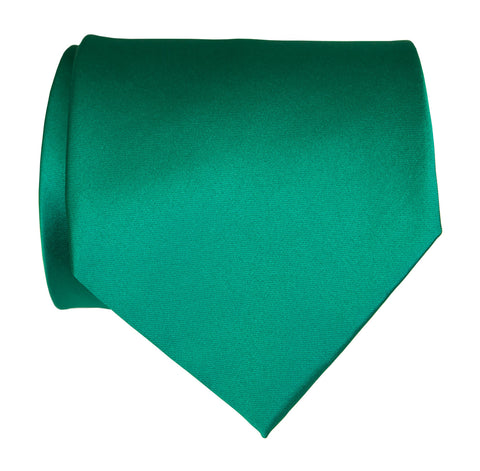 Teal Green Necktie. Solid Color Satin Finish Tie, No Print