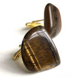 Tigers Eye Cufflinks, freeform polished stone cufflinks