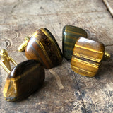 Tigers Eye Cufflinks, polished stone cufflinks