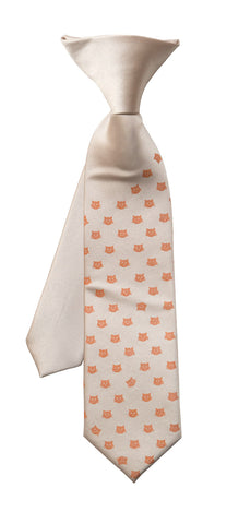 Tiny Cat Face Kid's Tie, Boy's Clip-on Cat Pattern Necktie