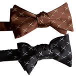 Tiny Scissors Print Bow Ties, dark brown and black. Scissors Pattern Tie, by Cyberoptix
