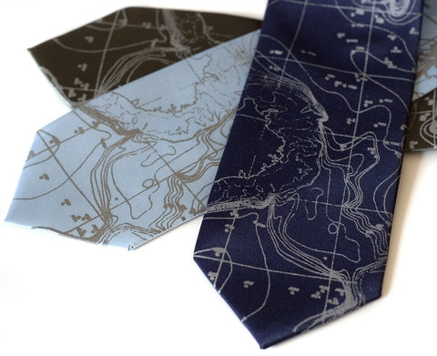Scandinavian Waters Necktie, Bathymetric Chart Contour Map Tie
