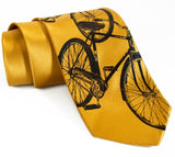 Bicycle Silk Necktie. Triple Cruiser Bike tie
