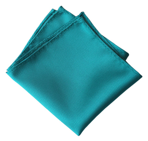 Turquoise Pocket Square. Solid Color Fine-Stripe, No Print