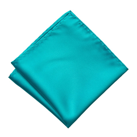 Turquoise Pocket Square. Solid Color Satin Finish, No Print