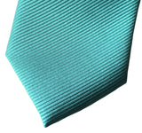 Turquoise mens tie. Solid color woven fine-stripe necktie, no print. By Cyberoptix
