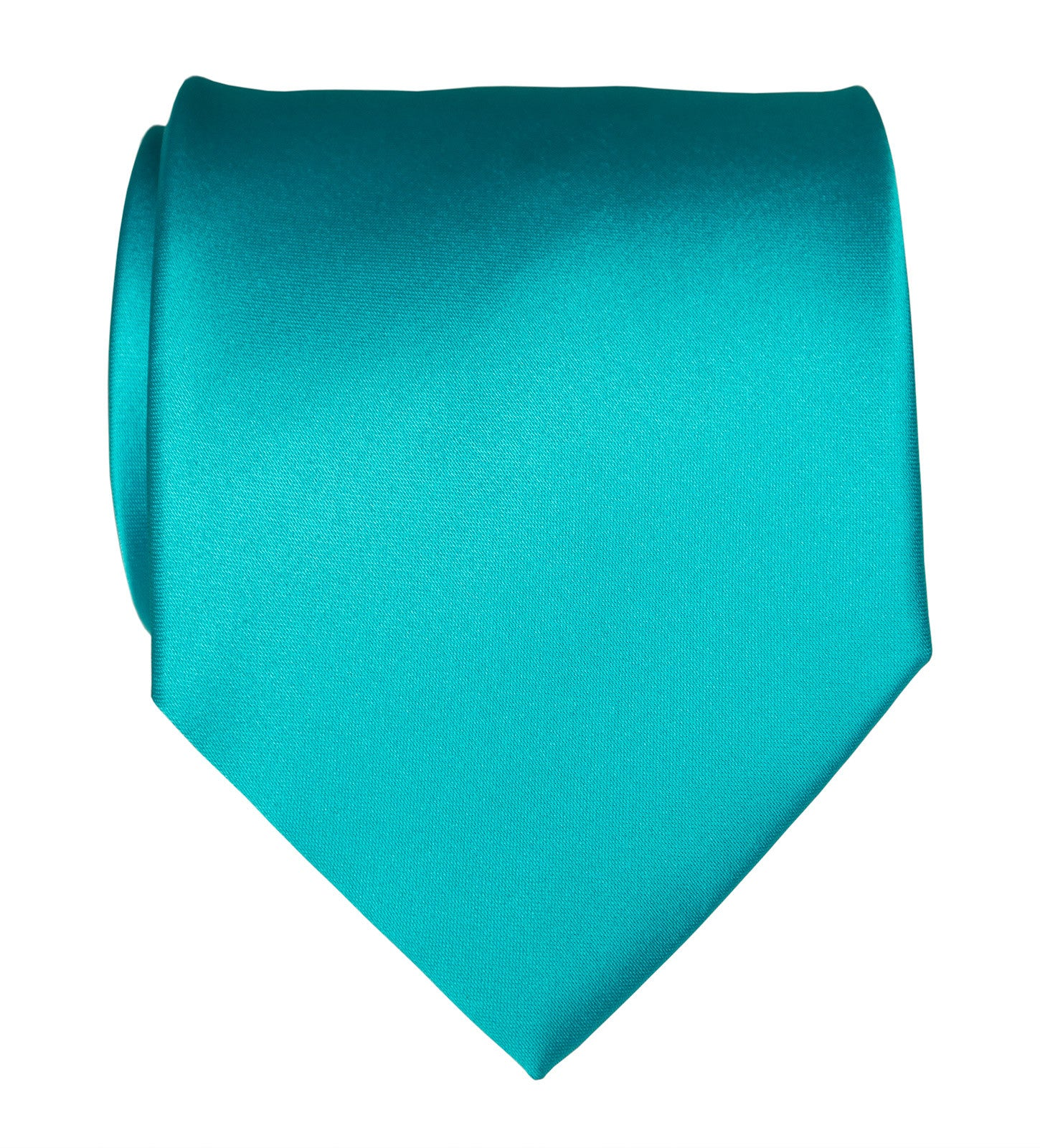Turquoise Necktie Solid Color Satin Finish Tie No Print