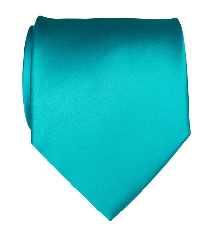 Turquoise Necktie. Solid Color Satin Finish Tie, No Print