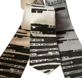 Redacted Document Print Tie, Conspiracy Theory Necktie, by Cyberoptix